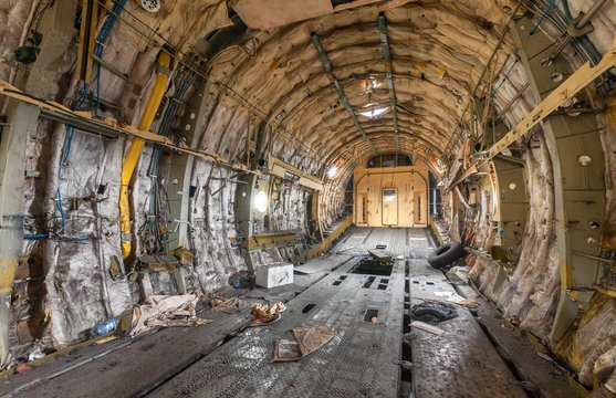 Destroyed and littered the cargo Bay of a large transport aircraft