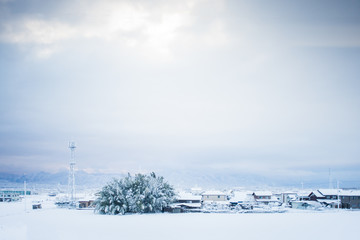 Winter snow cover the town