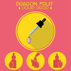 Dragon fruit grape ejuice drop design set