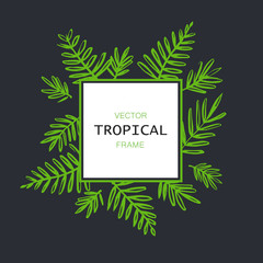 Tropical abstract vector border with palm leaves. Exotic tree foliage made in brush style with place for your text.