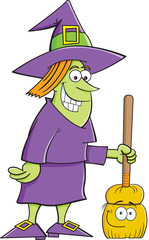 Cartoon illustration of a witch with a broom.