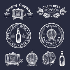Old brewery logos set. Kraft beer retro signs with hand sketched barrel,bottle,herbs and plants. Vector lager,ale badges