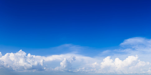 Beautiful panorama view of blue sky and white clouds