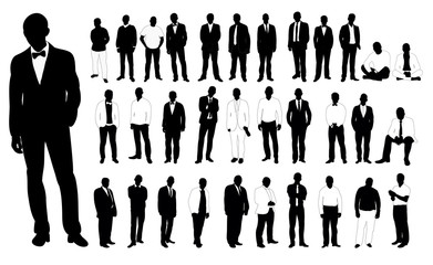 Collection of black and white silhouettes man vector illustration