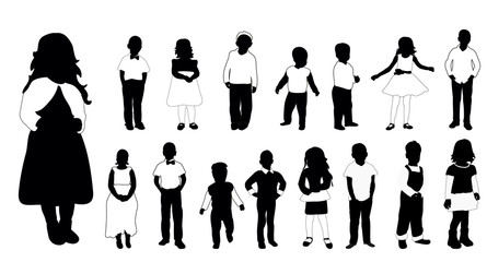 Collection of black and white silhouettes of children vector illustration