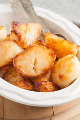 Roast Potatoes oven cooked in beef fat until crisp and golden a favourite side dish with roast Sunday dinners
