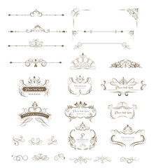 Ornate frames and Collection of design elements,labels,icon  for packaging,design of luxury products. vector illustration