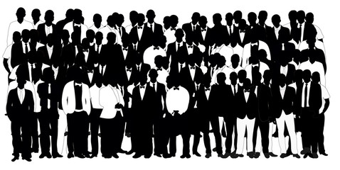 Collection of black and white silhouettes man team, crowd, vector, illustration