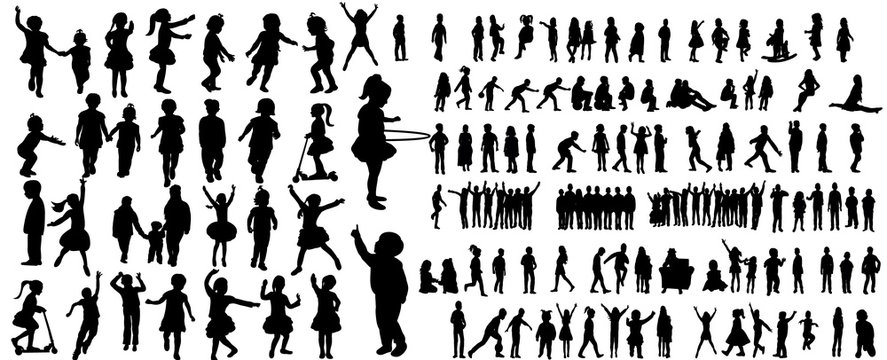 Collection of children silhouettes boys and girls set, vector illustration