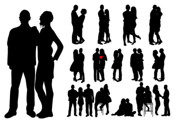 Collection of couple silhouettes guy and girl love