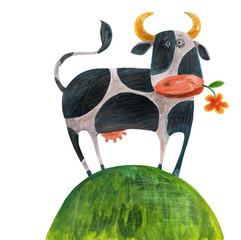 Spotted cow on grass in meadow. Watercolor illustration. Hand drawing