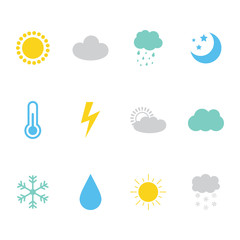 Set, collection of colorful weather, meteorology icons.