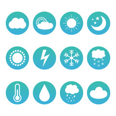Set, collection of weather and meteorology icons isolated on white background.