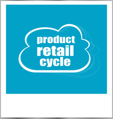 product retail cycle words business concept, photo frame isolated on white