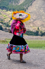 Woman in traditional  peruvian clothes