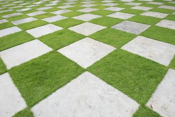 grass tiles, Beautiful grass tiles in a garden,Marble block on green grass.Selective focus.