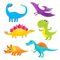 Set of cute and funny smiling baby dinosaurs, cartoon vector illustration isolated on white background. Set of funny dinosaurs stegosaurus, triceratops, T-rex, brontosaurus, spinosaurus, pterodactyl