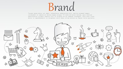 Vector creative illustration of brand with line icons. Branding technology concept.
