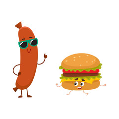 Funny smiling sausage and hamburger characters in sunglasses showing thumb up, fast food concept, cartoon vector illustration isolated on white background. Sausage and hamburger characters, mascots