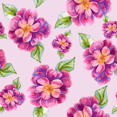 Background with a peony flower. Seamless pattern. Watercolor illustration.
