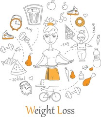 Doodle line banners of Weight loss