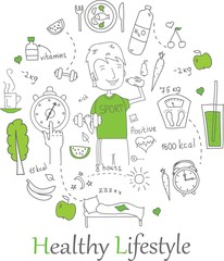 Doodle line banners of Healthy lifestyle