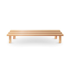 Wooden Bench Realistic Vector Illustration. Single Wooden Park Bench On White