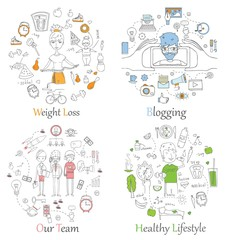 Doodle line banners of Healthy lifestyle, Blogging, Team work and Weight loss.Concept Vector background for promotional material.
