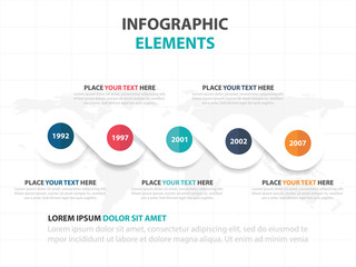 Abstract colorful circle business timeline Infographics elements, presentation template flat design vector illustration for web design marketing advertising