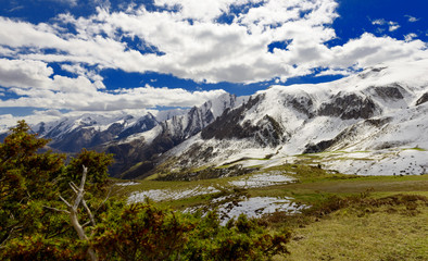 panorama of the french Pyrenees mountains, col du Soulor