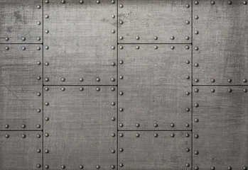 Wall Mural - Dark metal plates with rivets background or texture