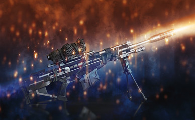 Sniper rifle with bi-pod and camouflaged scope on a black background with abstract lighting effects.3d rendering