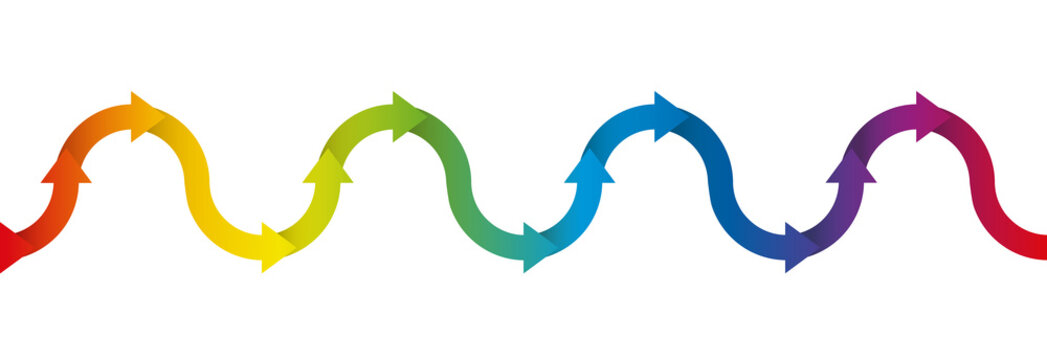 Up and down symbol for undulation and oscillation, depicted with a rainbow colored arrow wave - isolated vector illustration on white background, seamless extensible in both directions.