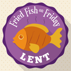 Round Button with Fried Fish Design for Lent, Vector Illustration