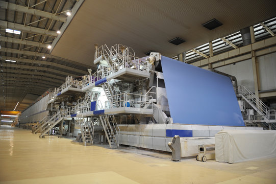 Paper mill machine in the workshop