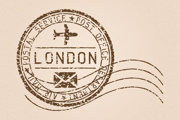 London mail stamp. Old faded retro styled impress