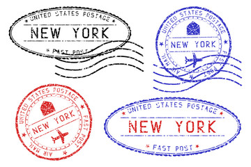 New York mail stamps collection. Faded colored impress