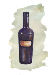 Watercolor bottle with colored spot on white background.