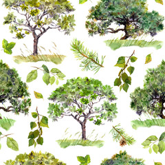 Green trees. Park, forest background. Seamless pattern with leaves. Watercolor
