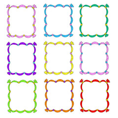 Set of frames. Frame templates are multicolored. Frames with ribbons. Vector isolated on white background.