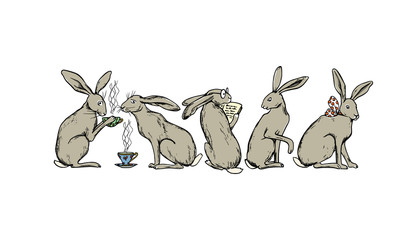 Hand drawn hares