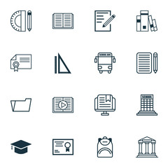Set Of 16 Education Icons. Includes Haversack, Measurement, Taped Book And Other Symbols. Beautiful Design Elements.