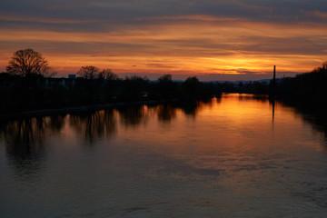 Sunset at main river overlooking Ginsheim-Gustavsburg