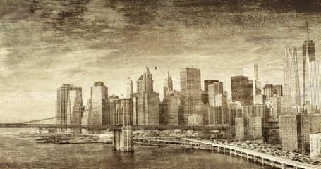 Vintage photo of New York City buildings