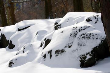 Snowy rock in Central Park Manhattan