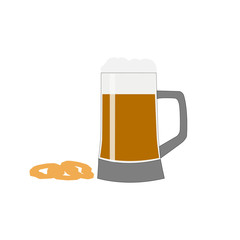 Mug of beer with foam and onion rings on a white background
