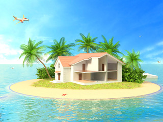 Beautiful house on the island. 3d illustration