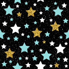 Star seamless background. Gold, blue and white star.
