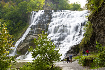 Finger lakes region waterfall in the summer