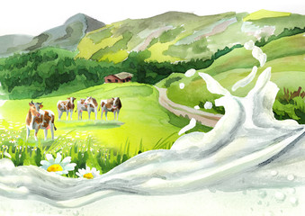 Cows in a meadow and milk wave. Hand drawn watercolor background